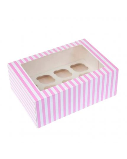 Box Porta Muffin in Carta Bianco e Rosa x 12 Muffin