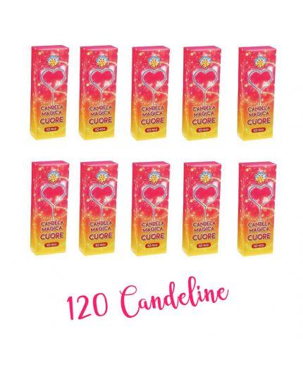 120 Candeline Magiche Scintillanti Forma Cuore