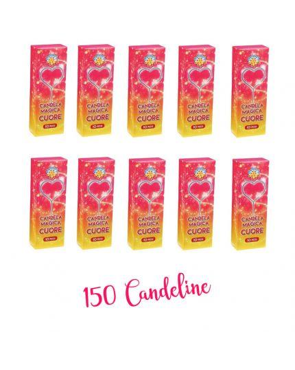 150 Candeline Magiche Scintillanti Forma Cuore