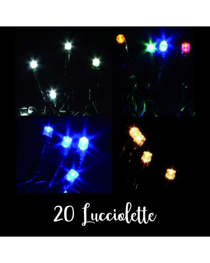 Filo Nero 20 Lucciolette LED Colorate 190 Cm