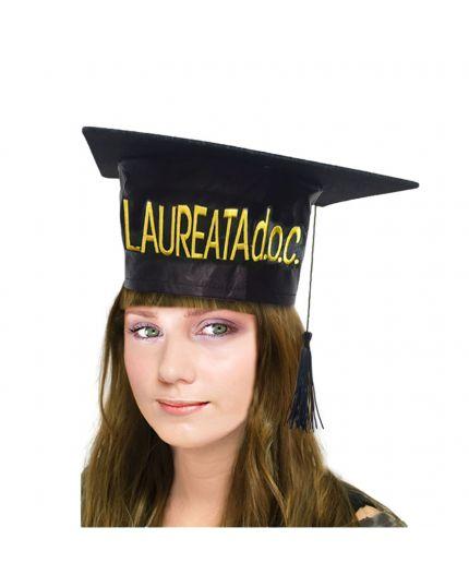 Tocco Cappello Laurea con Scritta Oro Laureata DOC