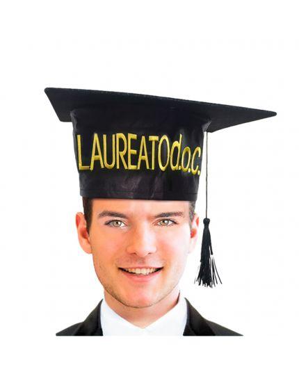 Tocco Cappello Laurea con Scritta Oro Laureato DOC