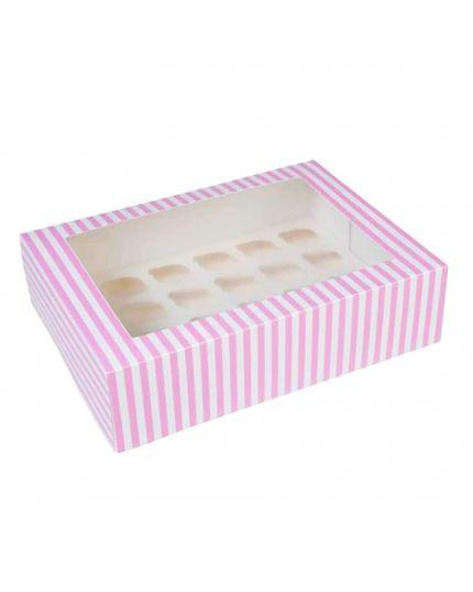 Box Porta Muffin in Carta Bianco e Rosa x 24 Muffin
