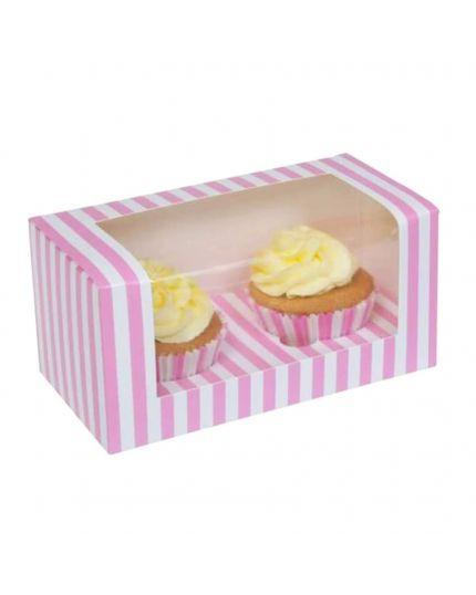 Box Porta Muffin in Carta Bianco e Rosa x 2 Muffin