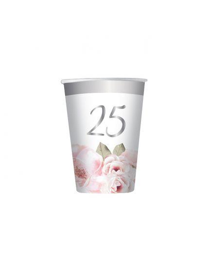 Bicchieri 200 cc 25° Anniversario Floral 8Pz