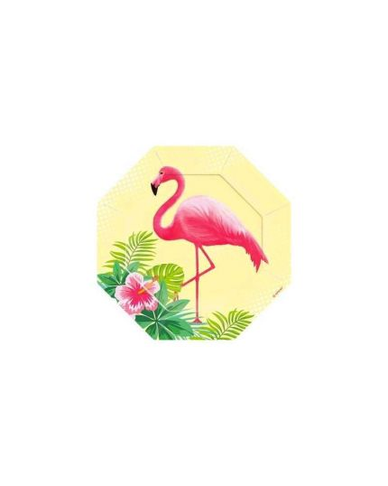 Piattini Dessert Carta Flamingo Paradise Fenicotteri Rosa