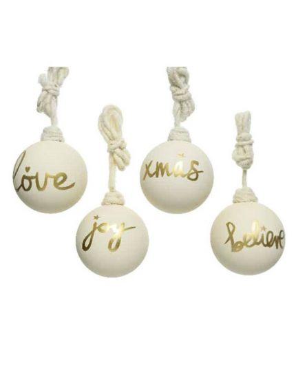 4 Palline Natale Vetro con Scritte Bianche
