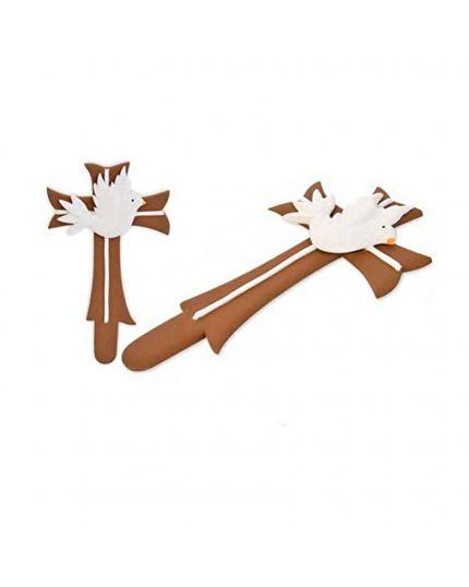 Decorazione Zucchero 3D Croce con Colombe 5,5cm