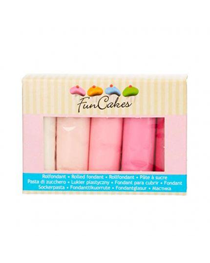 Pasta di Zucchero Multipack Tonalità Rosa 5 x 100Gr