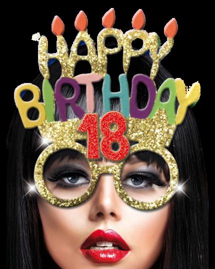 Occhiali con Glitter Happy Birthday Età Assortite