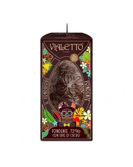 Uovo Pasqua Cioccolato Fondente Decorato a Mano Vialetto 300Gr