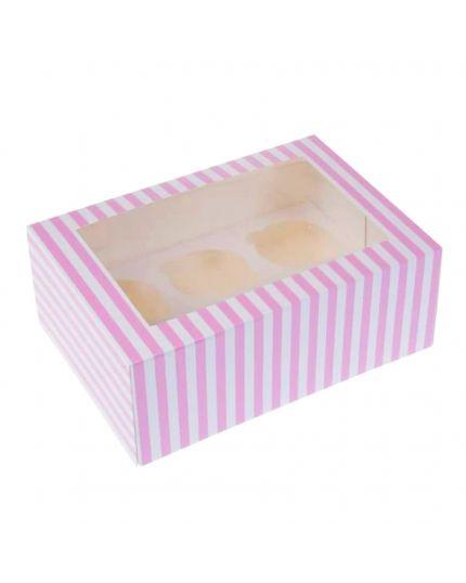 Box Porta Muffin in Carta Bianco e Rosa x 6 Muffin