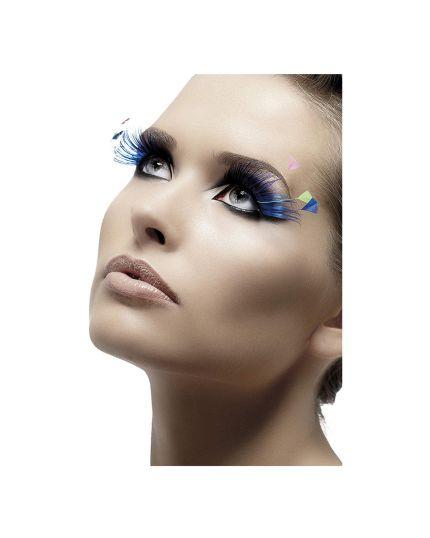 Ciglia Blu con piume
