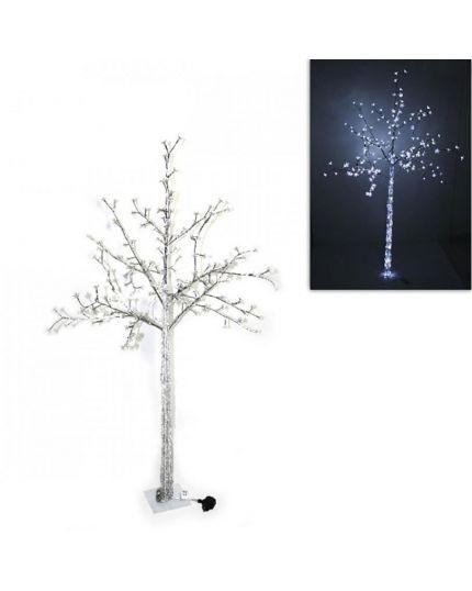 Albero Luminoso con Fiorellini 192 LED Bianco Freddo 160cm