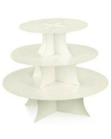 Alzata per Torta in Cartone Bianco 3 Piani