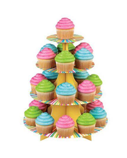 Alzatina 4 Piani Righe Multicolor per 25 Cupcakes