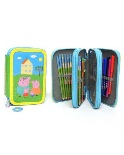 Astuccio 3 Piani Peppa Pig con Colori e Accessori 20x13x6cm