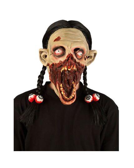 Maschera Lattice Bambina Horror con Trecce