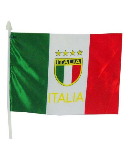 Bandiera Italia con Scudetto con Asta 60x90cm