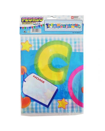 Festone Banner Primo Compleanno Celeste Personalizzabile con Nome