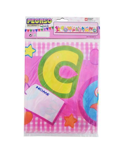 Festone Banner Primo Compleanno Rosa Personalizzabile con Nome
