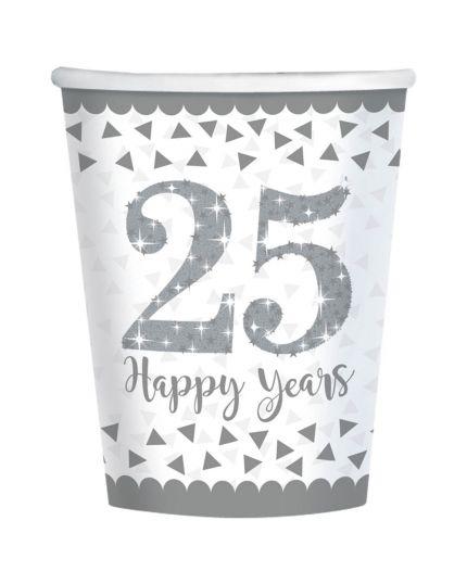 Bicchieri Carta 25 Happy Years Argento
