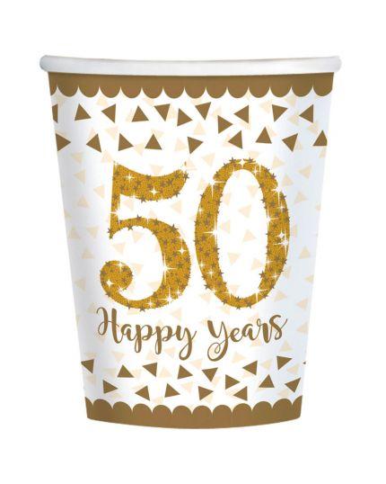 Bicchieri Carta 50 Happy Years Oro