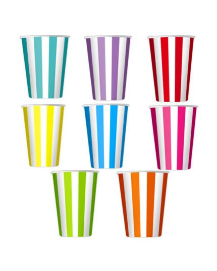 Bicchieri Carta Righe Colorate