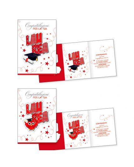 Biglietto Auguri Congratulazioni per la Tua Laurea Scritta in Rilievo 11x16cm