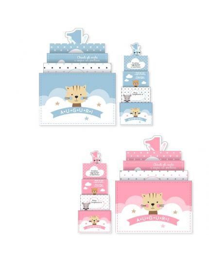 Biglietto Auguri Primo Compleanno Gattino Upper con Luci e Suoni 16x14cm