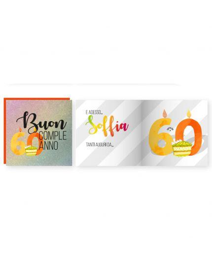 Biglietto Auguri Apri e Soffia con Busta Compleanno 60 Anni Luci e Suoni 15x15cm