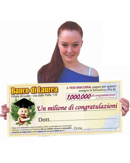 Maxi Assegno Biglietto Auguri Banco di Laurea 66x30cm