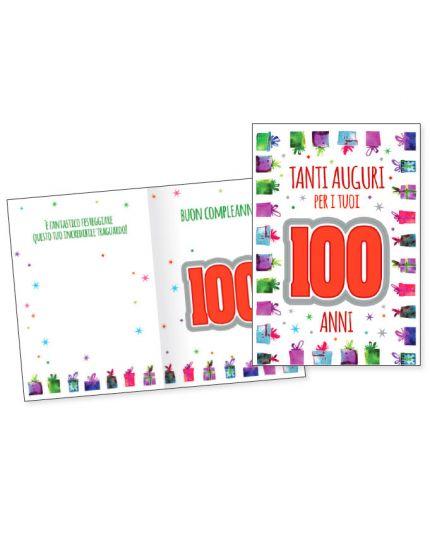 Biglietto Auguri Compleanno 100 Anni Pacchettini Regalo Multicolor con Numero i Rilievo 17x11cm