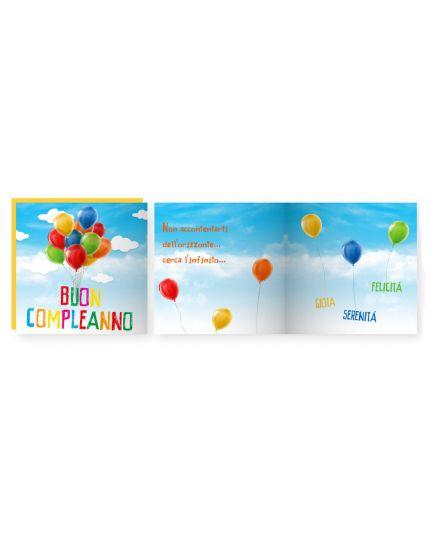 Biglietto Auguri Musicale con Busta Buon Compleanno Baloon 15x15cm