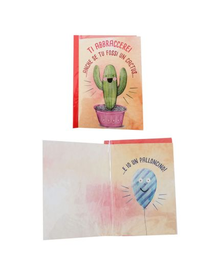 Biglietto Auguri con Busta Amore Cactus & Palloncino 16,5x11,5cm