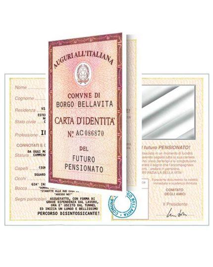 Biglietto Auguri Divertente Carta Identità - Futuro Pensionato