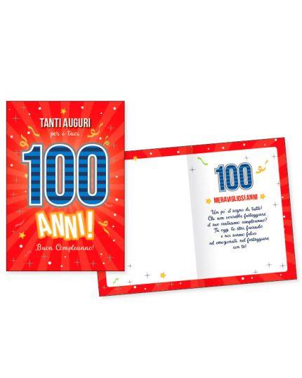 Biglietto Auguri Compleanno 100 Anni Rosso 17x11cm