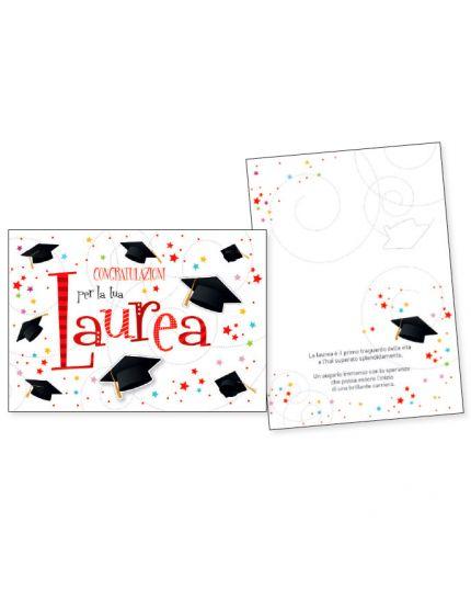 Biglietto Auguri Congratulazioni per la Tua Laurea Stelline Colorate con Tocco in Rilievo 16x11cm