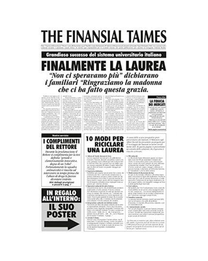 Biglietto Auguri Laurea Divertente - Giornale The Finansial Taimes