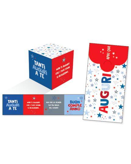 Biglietto Auguri Compleanno KuBoom Apri la Busta e il Cubo Esplode con Coriandoli - Stelline Blu 15x8cm