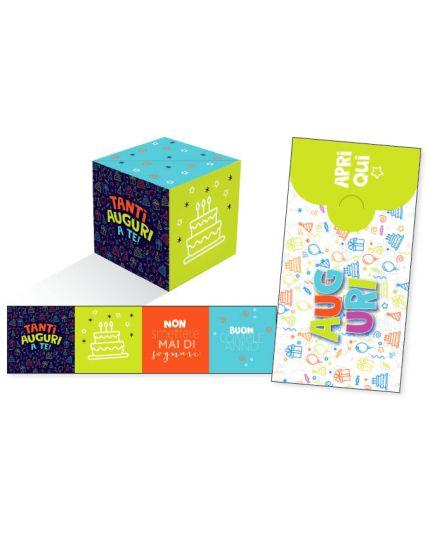 Biglietto Auguri Compleanno Verde KuBoom Apri la Busta e il Cubo Esplode con Coriandoli 15x8cm