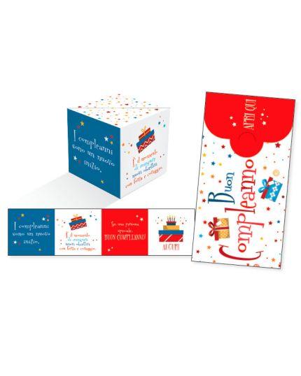 Biglietto Auguri Compleanno KuBoom Apri la Busta e il Cubo Esplode con Coriandoli - Stelline e Regali 15x8cm