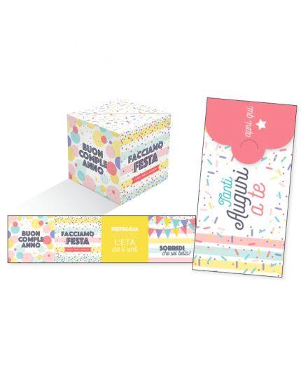 Biglietto Auguri Compleanno KuBoom Apri la Busta e il Cubo Esplode con Coriandoli - Tanti Auguri a Te 15x8cm