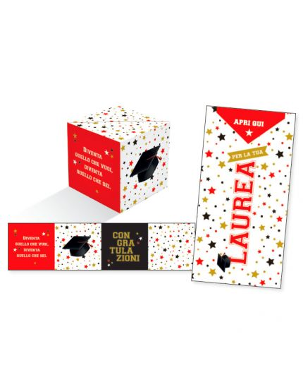 Biglietto Auguri Laurea KuBoom Stelline Colorate Apri la Busta e il Cubo Esplode con Coriandoli 15x8cm