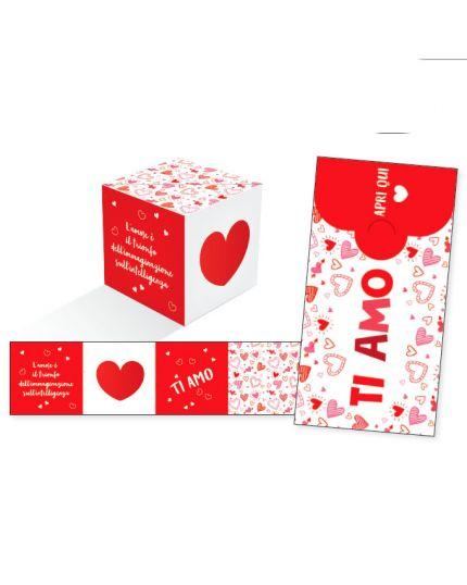 Biglietto Auguri Ti Amo KuBoom Apri la Busta e il Cubo Esplode con Coriandoli - Cuoricini Rossi 15x8cm