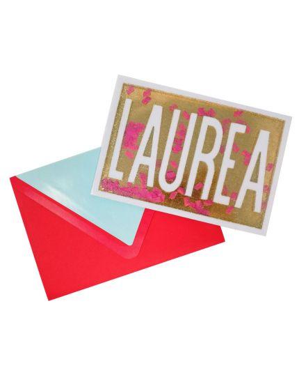 Biglietto Auguri con Busta Laurea Glitter Oro e Coriandoli Mobili