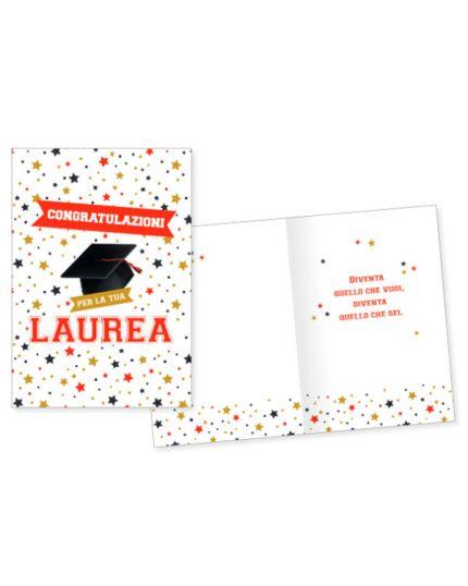 Biglietto Auguri Congratulazioni per la Tua Laurea con Stelline 17x11cm