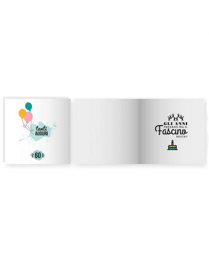 Biglietto Auguri Musica & Suoni con Busta Compleanno 60 Anni 15x15cm