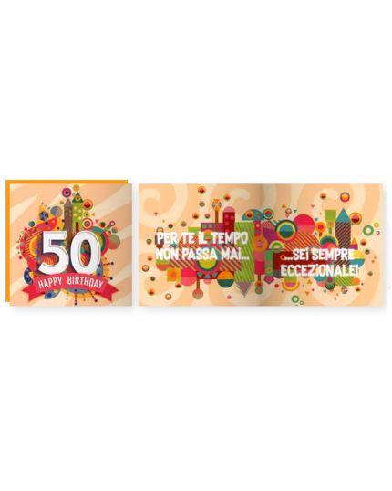 Biglietto Auguri Musicale con Busta Compleanno 50 Anni 15x15cm