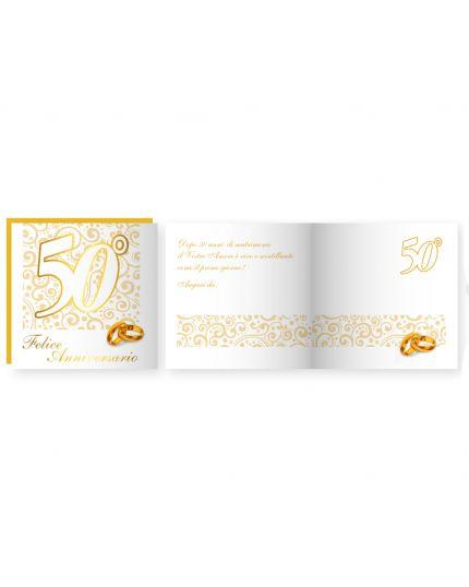 Biglietto Auguri Musicale con Busta 50° Anniversario Nozze Oro 15x15cm
